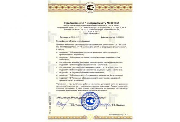 Приложение к сертификату ГОСТ РВ 0015-002-2012